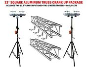 Two 11.6and039 Crank Up Stands With Two 6.56and039 Square Aluminum Truss Segments Package