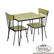 Mid-century Modern Wrought Iron And Formica Childs Table And 2 Chair Kitchen Set