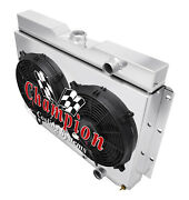 4 Row Discount Radiator W/ 2 12 Fans And Shroud For 1959-1963 Chevy Impala