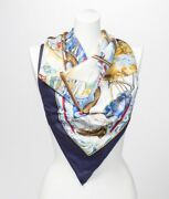 Vintage Hermes Vive Le Vent Blue And Yellow Pure Silk Nautical Scarf With Box