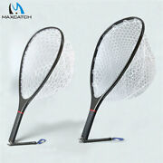 Maxcatch Fly Fishing Landing Net Carbon Fiber Frame Clear Rubber Net Nomad Hand