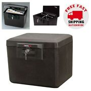 Fireproof Document Safe Security Box Storage Chest Key Lock Protect Files Money