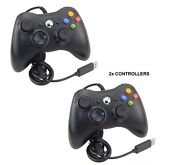 2 X Black Brand New Usb Wired Controller For Xbox 360 Pc Windows