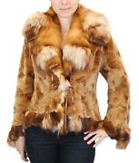 New M/l Golden Sheared Mink And Ruby Fox Fur Jacket By David Appel W/storage Bag