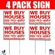 4x We Buy Houses Signs Your Phone Number And Website Real Estate Marketing