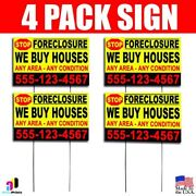 4x Stop Foreclosure-we Buy Houses Signs Your Phone Number Real Estate Marketing