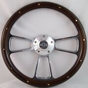 1957 -1963 Chevy Full Size Cars Real Wood And Chrome Steering Wheel And Adapter