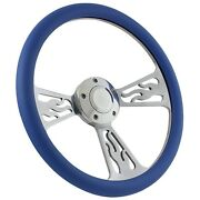 63.5-64 Ford Galaxie Flame Steering Wheel 14 Inch Aluminum With Sky Blue Wrap
