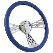55-57 Ford Thunderbird Flame Steering Wheel 14 Inch Aluminum With Sky Blue Wrap
