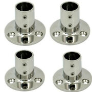 4x Boat Hand Rail Fittings 90 Degree 7/8 Round Base Marine Stainless Steel Nice