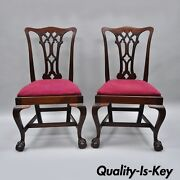 T. Robinson And Sons Makers Antique Solid Mahogany Chippendale Style Side Chairs