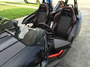 2015+ Polaris Slingshot Cipher Black W/red Piping Racing Seats And Seat Brackets