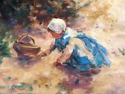 Ernest David Roth 1879-1964, Oil Painting, Girl With Wicker Basket