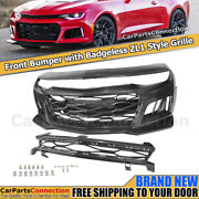 Chevy Camaro 16-18 Zl1 Style Front Bumper Cover W/ Badgeless Grille Upper Insert