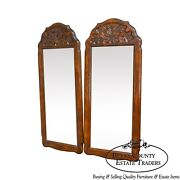 French Country Style Pair Of Vintage Carved Oak Mirrors