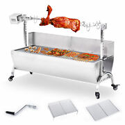 46 Stainless Steel Barbecue Grill Roast Kebab Bbq Spit Roaster Rotisserie Beef