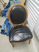 Leather Black With Wooden Frame Used Antique Chairs. Used But In Great Condition