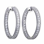 14k White Gold Inside Out 2ct Diamond Pave Hoop Earrings