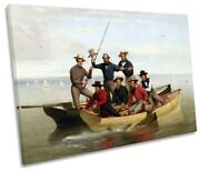 Junius Stearns Fishing Party Long Island Picture Single Canvas Wall Art Print