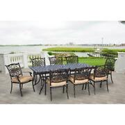 9 Piece Dining Set Large Table 8 Chairs Cushions Outdoor Patio Garden Furniture