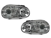 Depo Chrome Glass Lens Headlight + Projector Fog Light For 99-04 Vw Golf Gti Mk4