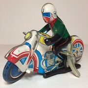 Vintage Tin Wind-up Motorcycle Toy - Ms-702 - Made In China 602 - 7