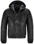 Menand039s Hooded Leather Jacket Black Fitted Stylish Sports Real Napa Leather 2113