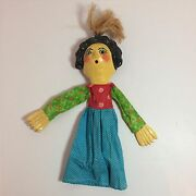 Vintage Handmade And Painted Wooden Stick Puppet