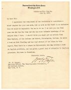 William H. Taft - Letter Signed - Wants Indiana University Write His Biography