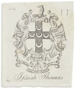 Bookplate Engraved And Printed By Paul Revere In Boston Pre-1800 For Isaiah Thomas