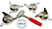 3 Bar Cut Chrome Knock-off Spinners And Lead Hammer For Lowriders Wire Wheels M