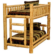 1 Selling Rustic Pine Cabin Log Bunkbed T/t T/f T/q F/f F/q - Choose Your Size