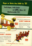 1957 Paper Ad 4 Pg James Toy Co Slinky Handcar Soldiers Horse Bucko Dog Worm