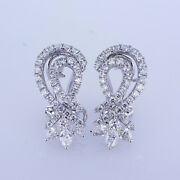 1.81ct Round And Marquise Cut Diamond Earrings F-g Si In 18k White Gold