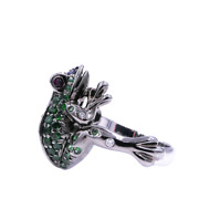 Blue Sapphire And Green Garnet Lucky Frog Ring 18 Karat Oxydized Black Rose Gold
