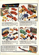 1957 Paper Ad 4 Pg Tootsietoy Toys Fire Department Truck Cars Greyhound Bus Van