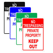 No Trespassing Private Property Keep Out Restriction Aluminum Metal Sign