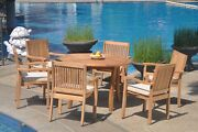 A-grade Teak 7pc Dining 48 Round Table 6 Leveb Stacking Arm Chair Set Outdoor