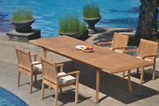 A-grade Teak 5pc Dining 118 Rectangle Table 4 Leveb Stacking Arm Chair Set