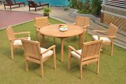 A-grade Teak 7pc Dining 52 Round Table 6 Leveb Stacking Arm Chair Set Outdoor