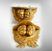 Pair Of Vintage Carved Wood Shelves With Cherubs - France