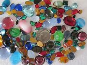 Vtg Glass Flatbacks Cabachons And Bombe Loose Lot 100 Pc Jewelry Repair Crafts Mix