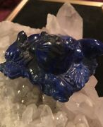 Antique/vintage Carved Lapis Lazuli Mother Frog With Two Baby Frogs On Lily Pad
