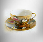 Occupied Japan Cup And Saucer With Heavy Gold And Mt Fuji Design