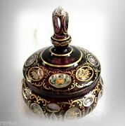 Moser Art Glass Candy Jar With Lid - Gold And Floral Designs