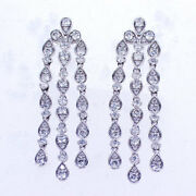 2.50 Ct F Si1 1.5 And039and039 18k White Gold Diamond Drop Earrings 3 Row
