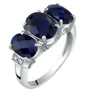 14k White Gold Created Blue Sapphire And Diamond Three Stone Triune Ring 3 Cts