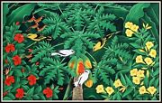 Original Balinese Painting Yellow Birds And Starlings 32.5h X 52.5w Signed