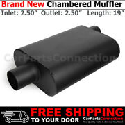 2.5 Inches Offset In Center Out Black 211967 Aluminized Steel Chamber Muffler