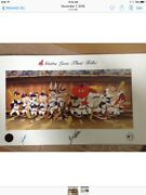 Animation Art Bugs Bunny And Friends As Cleveland Indians In Dugout 19 X 33andnbsp